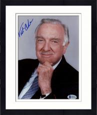 """Framed Walter Cronkite Autographed 8""""x 10"""" CBS Evening News Hand On Chin Photograph - Beckett COA"""
