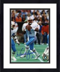 "Framed Warren Moon Houston Oilers Autographed 8"" x 10"" Drop Back Photograph"