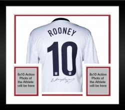 Framed Wayne Rooney England Autographed White Home Back Jersey - Mounted Memories