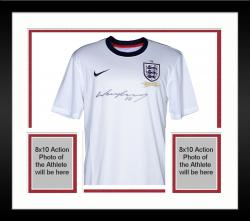 Framed Wayne Rooney England Autographed White Home Front Jersey - Mounted Memories