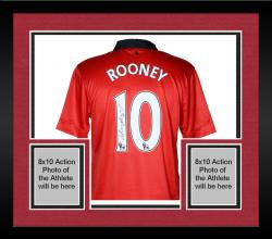 Framed Wayne Rooney Manchester United Autographed Red Home Back Jersey - Mounted Memories