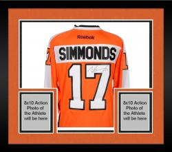 Framed Wayne Simmonds Philadelphia Flyers Autographed Orange Reebok Premier Jersey