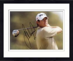 Framed Fanatics Authentic Autographed Lee Westwood 8'' x 10'' Brown Shirt Swinging Photograph