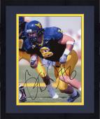 Framed Grant Wiley West Virginia Mountaineers Autographed 8'' x 10'' Blue Jersey Photograph