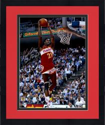 Framed Dominique Wilkins Atlanta Hawks Autographed 16'' x 20'' Action Photograph with Human Highlight Film inscription