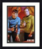 "Framed William Shatner and Leonard Nimoy Star Trek Autographed 16"" x 20"" Both Pointing Phaser Photograph - JSA"