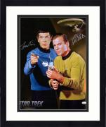 "Framed William Shatner and Leonard Nimoy Star Trek Autographed 16"" x 20"" Pointing Finger and Phaser Photograph - JSA"