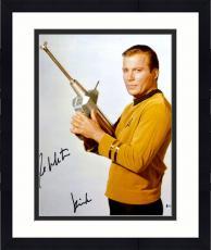 "Framed William Shatner Autographed 16"" x 20"" Star Trek Holding Phaser Photograph with Kirk Inscription - Beckett COA"