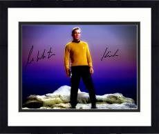 "Framed William Shatner Autographed 16"" x 20"" Star Trek Standing on Rock Photograph with Kirk Inscription - Beckett COA"