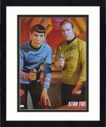 "Framed William Shatner & Leonard Nimoy Autographed 16"" x 20"" Both Pointing Phaser Photograph - JSA"