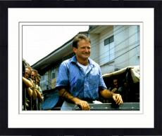 Framed Robin Williams Autographed 11'' x 14'' Blue Shirt Smiling Photograph