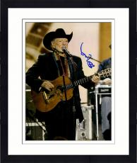Framed Willie Nelson Autographed 11'' x 14'' Wearing Black Blazer Guitar Photograph