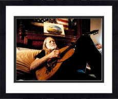 "Framed Willie Nelson Autographed 11""x 14"" Playing Guitar In Bed With Black Ink Photograph - PSA/DNA COA"