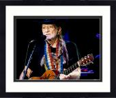 "Framed Willie Nelson Autographed 11""X 14"" Playing Guitar Wearing Black Hat With Black Background Photograph - PSA/DNA COA"