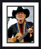 "Framed Willie Nelson Autographed 11""X 14"" Playing Guitar Wearing Black Hat With White Background Black Ink Photograph - PSA/DNA COA"