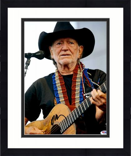 """Framed Willie Nelson Autographed 11""""X 14"""" Playing Guitar Wearing Black Hat With White Background Black Ink Photograph - PSA/DNA COA"""