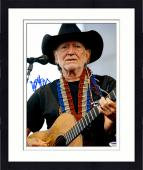 """Framed Willie Nelson Autographed 11""""X 14"""" Playing Guitar Wearing Black Hat With White Background Blue Ink Photograph - PSA/DNA COA"""