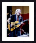 "Framed Willie Nelson Autographed 11""X 14"" Playing Guitar With No Hat & Wearing Black Shirt Photograph - PSA/DNA COA"