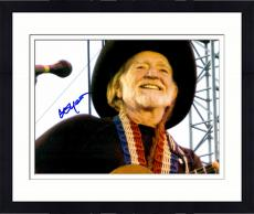 Framed Willie Nelson Autographed 11'' x 14'' Smiling By Microphone Photograph