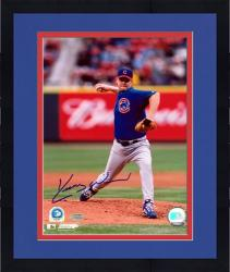 Framed Kerry Wood Chicago Cubs Autographed 8'' x 10'' Blue Jersey Action Photograph