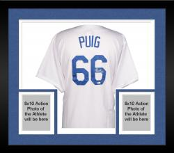 Framed Yasiel Puig Los Angeles Dodgers Autographed Majestic Replica White Jersey
