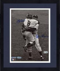 Framed Yogi Berra & Don Larsen New York Yankees Autographed 8'' x 10'' B&W Hug Photograph