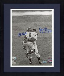 Framed Yogi Berra & Don Larsen New York Yankees Autographed 8'' x 10'' B&W Hug Photograph with PG 10-8-56 Inscription
