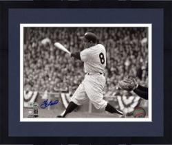 "Framed Yogi Berra New York Yankees Autographed 8"" x 10"" Black & White Hit Photograph"