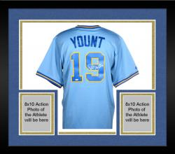 "Framed YOUNT, ROBIN AUTO ""HOF 99"" (BREWERS/LIGHT BLUE) (MLB) JERSEY - Mounted Memories"