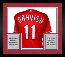 Framed Yu Darvish Texas Rangers Autographed Majestic Red Authentic Jersey Signed in Blue