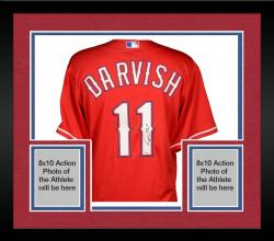 Framed Yu Darvish Texas Rangers Autographed Red Authentic Jersey