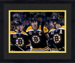 "Framed Zdeno Chara, Brad Marchand, & Patrice Bergeron Boston Bruins Autographed 16"" x 20"" Photograph"