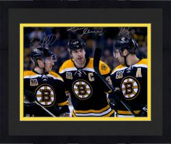 "Framed Zdeno Chara, Brad Marchand, & Patrice Bergeron Boston Bruins Autographed 16"" x 20"" Photograph"
