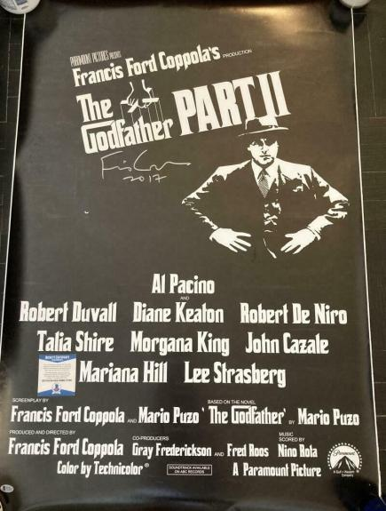 """FRANCIS FORD COPPOLA SIGNED AUTOGRAPH """"GODFATHER PART TWO"""" 27x40 POSTER BECKETT"""