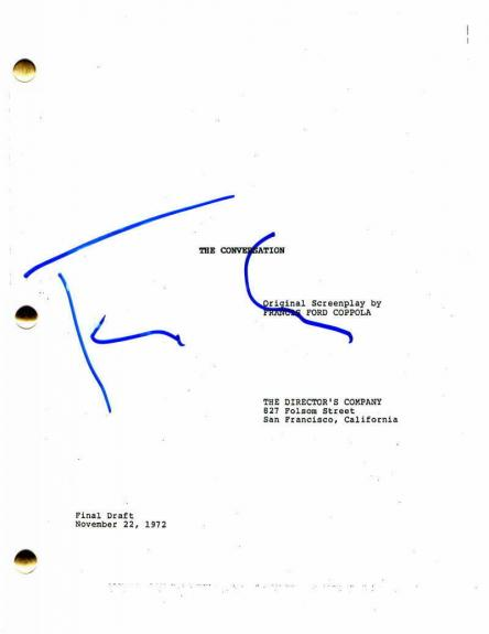 Francis Ford Coppola Signed Autograph - The Conversation Movie Script -godfather