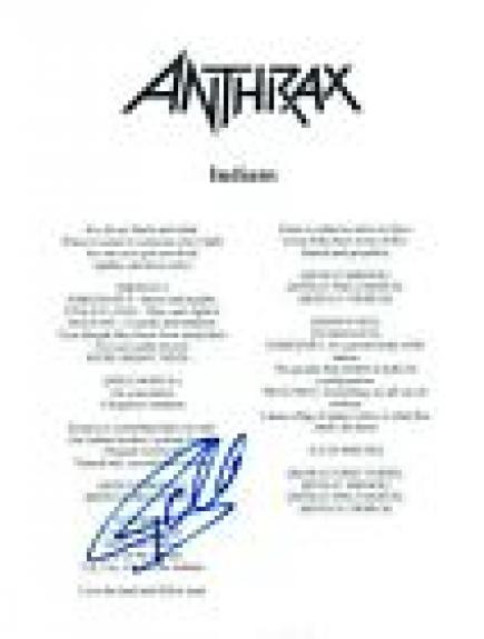 Frank Bello Signed Autographed Anthrax INDIANS Song Lyric Sheet COA