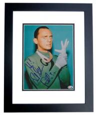 Frank Gorshin Autographed BATMAN RIDDLER 8x10 Photo with inscription - BLACK CUSTOM FRAME - Deceased 2005