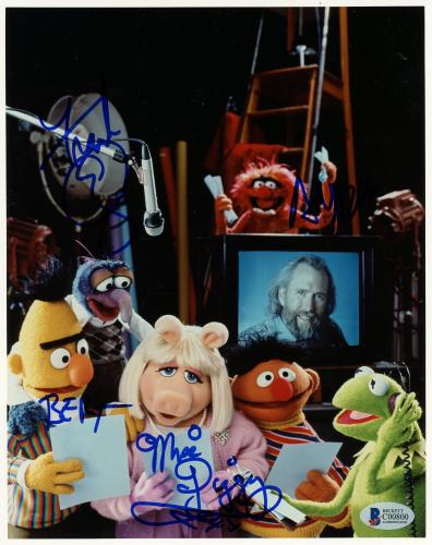 "Frank Oz Autographed 8"" x 10"" The Muppets Characters Photograph With Miss Piggy & Bert Inscription - BAS COA"