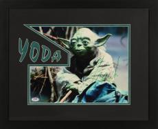 """Frank Oz Framed Autographed 11"""" x 14"""" Star Wars: Episode II- Attack Of The Clones Photograph - With Yoda Inscription PSA/DNA COA"""