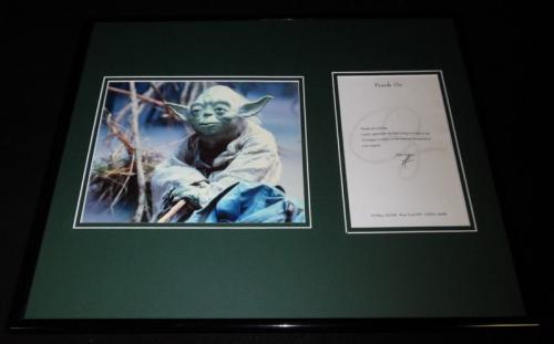 Frank Oz Signed Framed 16x20 Typed Letter & Photo Display Star Wars Yoda