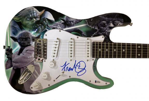 Frank Oz Yoda Star Wars Signed Full Size Custom Electric Guitar Auto Beckett Loa