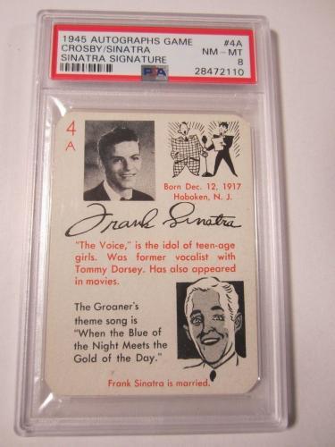 Frank Sinatra 1945 Autographs Game Card Sinatra Signature Graded PSA NM-MT 8