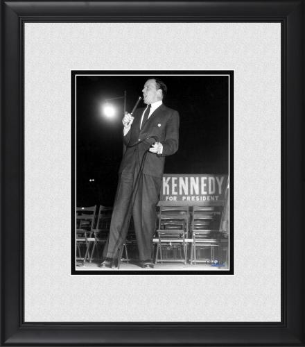 "Frank Sinatra Framed 8"" x 10"" at Kennedy Rally in 1960 Photograph"
