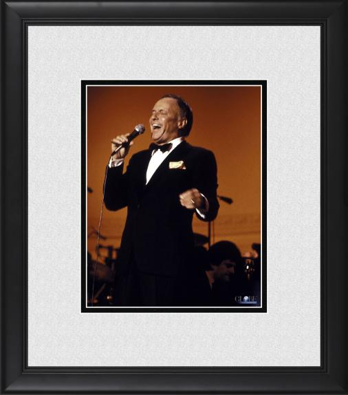 "Frank Sinatra Framed 8"" x 10"" Singing in Front of Red Photograph"