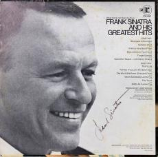 Frank Sinatra Greatest Hits Signed Album Cover W/ Vinyl Autographed BAS #A03198