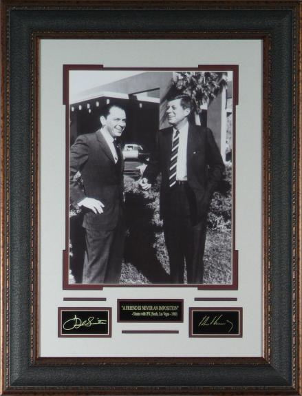 Frank Sinatra and JFK – Laser Engraved Signature – Framed Display 11×14