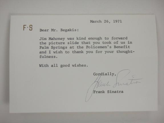 Frank Sinatra Signed 1971 Note Jsa Certified Authentic Autographed Rare!