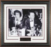 Frank Sinatra unsigned Cocoanut Grove LA Drinking Vintage B&W 11X14 Photo Black Leather Framed w/ Dean Martin (entertainment)