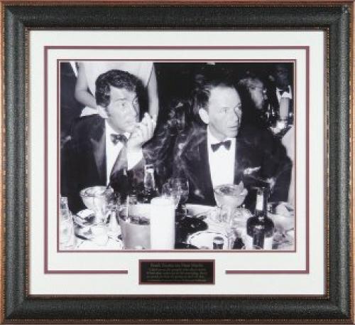 Frank Sinatra unsigned Cocoanut Grove LA Drinking Vintage B&W 11X14 Photo Black Leather Framed w/ Dean Martin (entertainment)