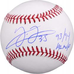 "Frank Thomas Chicago White Sox Autographed Baseball with ""93 & 94 AL MVP"" Inscription"